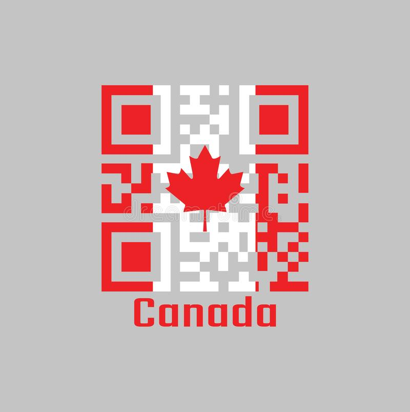 QR code set the color of Canada flag. vertical triband of red and white with the red maple leaf on the center. vector illustration