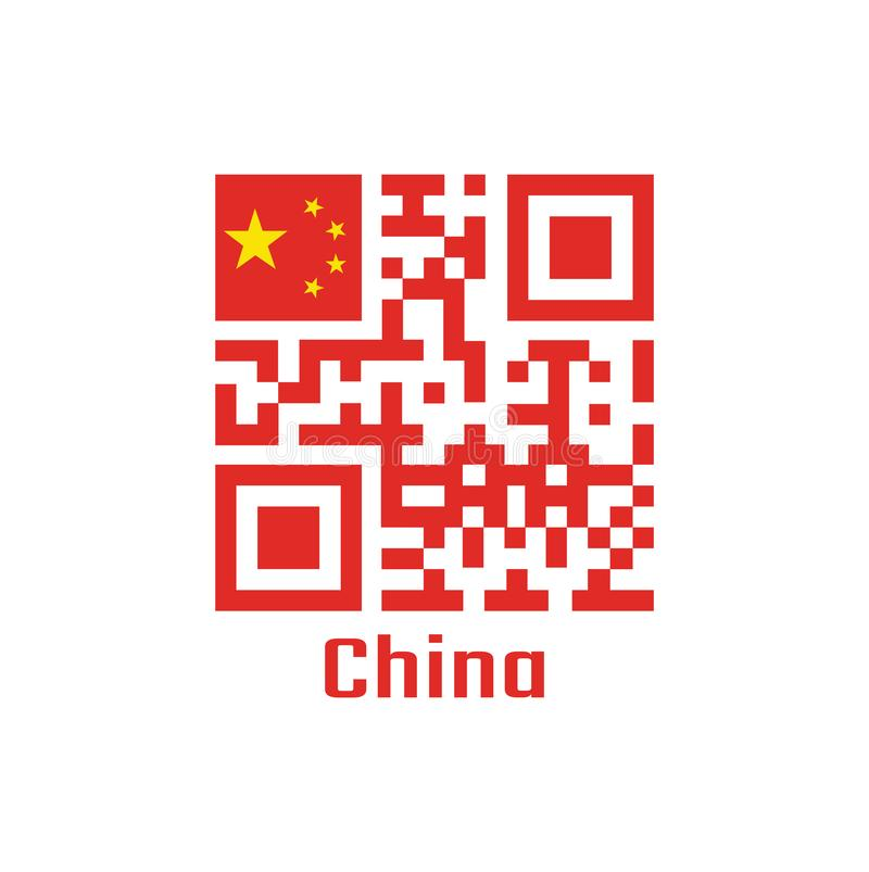 QR code set the color of China flag. a large golden star within an arc of four smaller golden stars, in the canton on red royalty free illustration