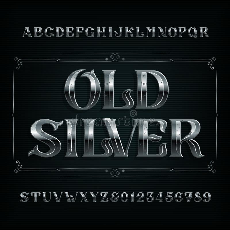 Old Silver alphabet font. Vintage metal letters and numbers. Stock vector typescript for your design vector illustration