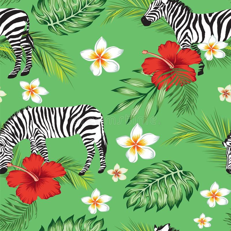 Seamless pattern tropical forest zebra and flowers green. Background vector illustration