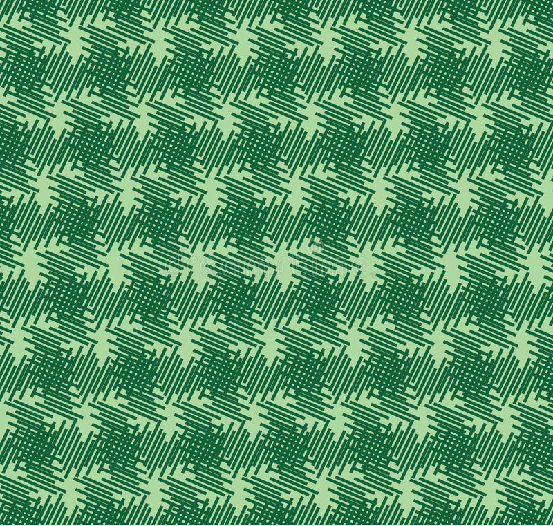 Cross aligned dashed line pattern. Green color background design lines vector illustration