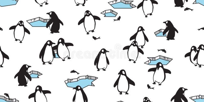 Penguin Seamless pattern vector fish salmon iceberg bird cartoon scarf isolated tile background repeat wallpaper illustration dood royalty free illustration