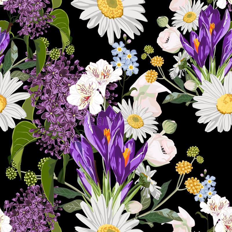 Bouquet of many king of spring flowers and herbs on black background. Hand drawn vintage background. vector illustration