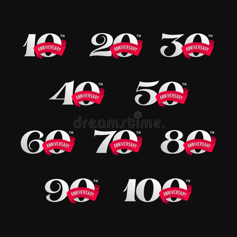 Set of anniversary signs from 10 to 100. Numbers with ribbons on black background. royalty free illustration