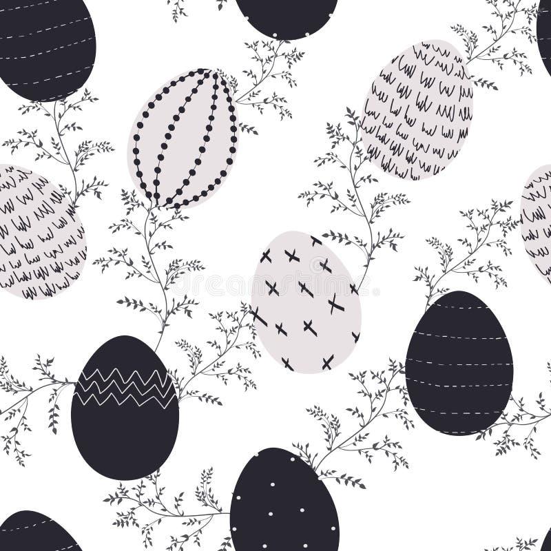 Illustrations of Easter decorative eggs pattern seamless. Black and white, modern design. stock illustration