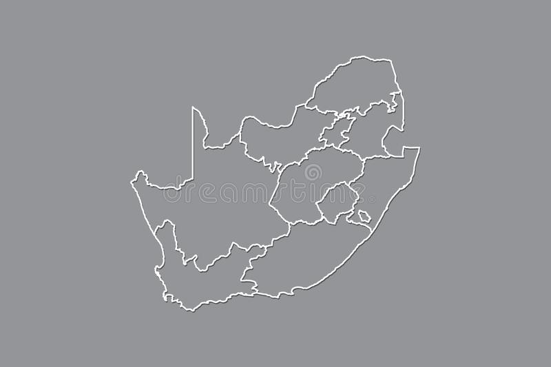 South Africa vector map with border lines of provinces using gray color on dark background illustration. South Africa vector map with border lines of provinces vector illustration