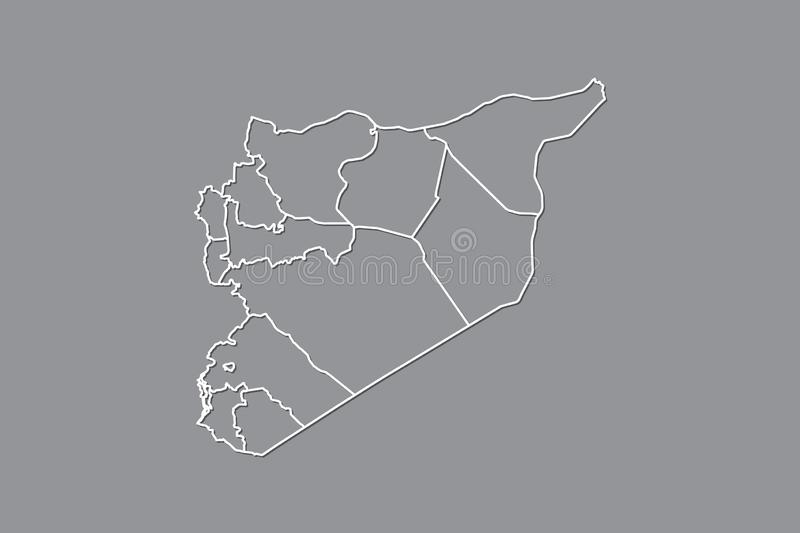 Syria vector map with border lines of provinces using gray color on dark background illustration. Syria vector map with border lines of provinces using gray stock illustration