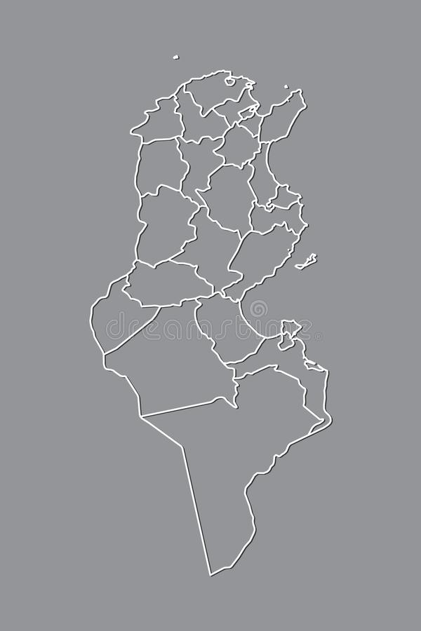 Tunisia vector map with border lines of divisions using gray color on dark background illustration. Tunisia vector map with border lines of divisions using gray vector illustration