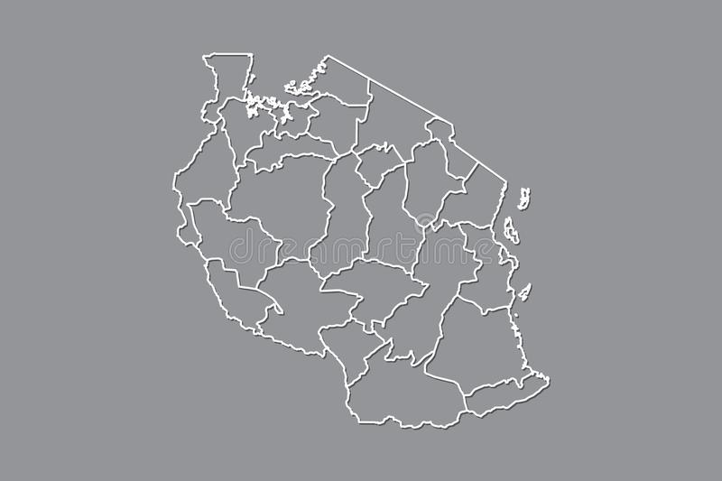 Tanzania vector map with border lines of regions using gray color on dark background illustration. Tanzania vector map with border lines of regions using gray vector illustration