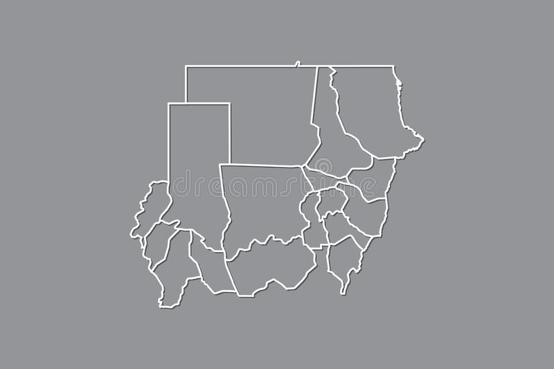 Sudan vector map with border lines of states using gray color on dark background illustration. Sudan vector map with border lines of states using gray color on royalty free illustration