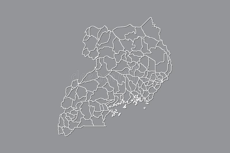 Uganda vector map with border lines of districts using gray color on dark background illustration. Uganda vector map with border lines of districts using gray stock illustration