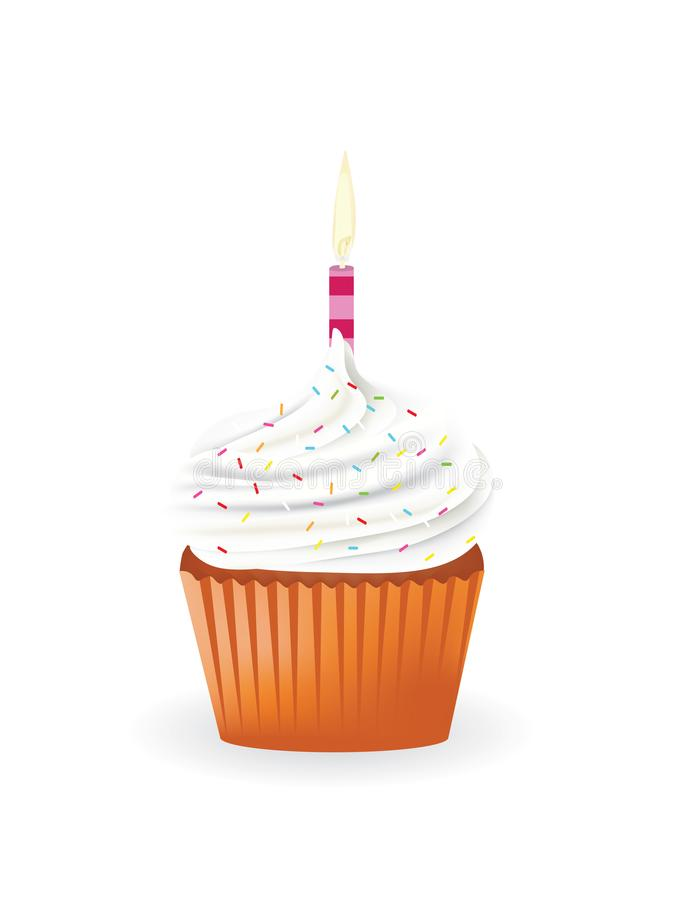 Cupcake with candle and sprinkles. Vector royalty free illustration