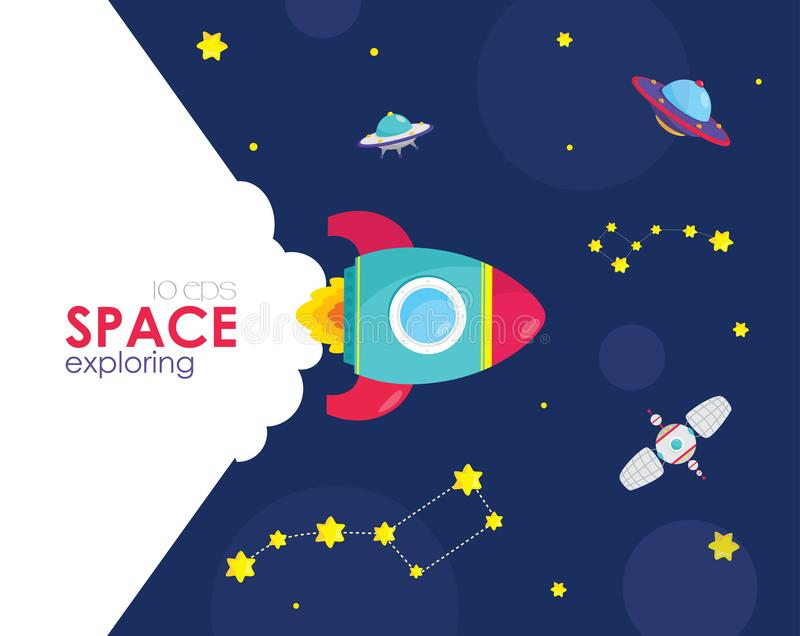 Space rocket launch. Concept for new business project start up, launching new product or service. Vector illustration royalty free illustration