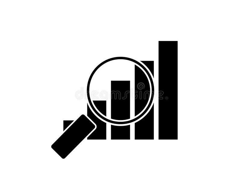 Magnifying glass on graph royalty free illustration