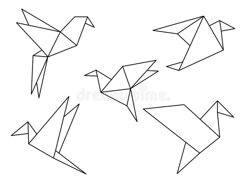 Origami birds vector set. Collection of flying origami birds line illustration in vector format royalty free illustration