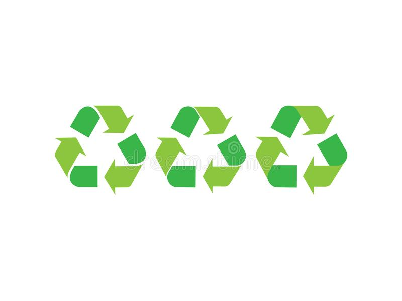 Green recycle symbols. Illustration of three different recycling symbols on white background stock illustration