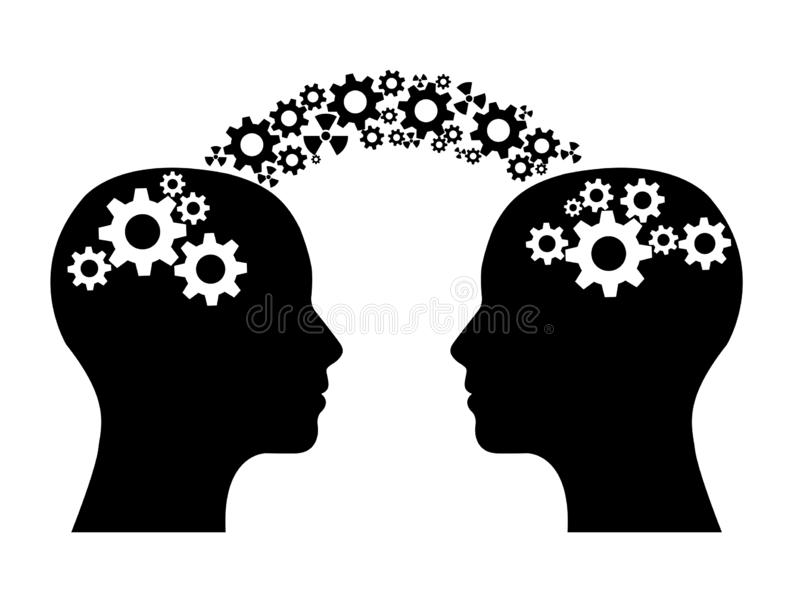 Two heads sharing knowledge royalty free illustration
