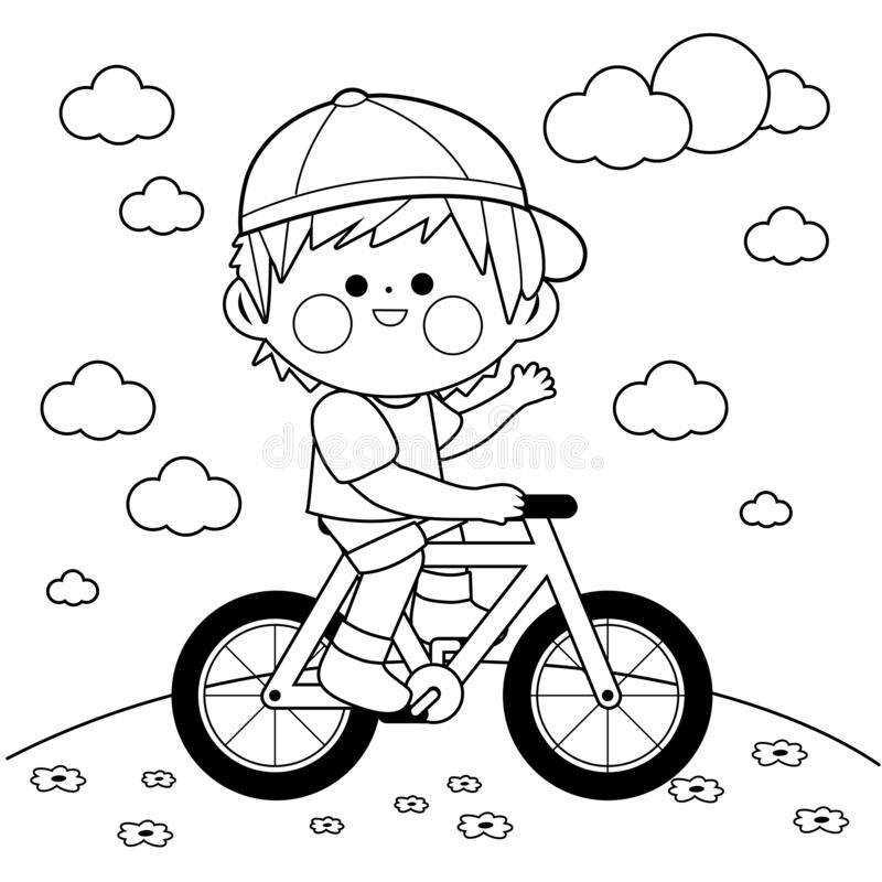 Boy riding a bicycle at the park. Black and white coloring book page. Happy little boy riding a bicycle at the park. Vector black and white coloring book page vector illustration