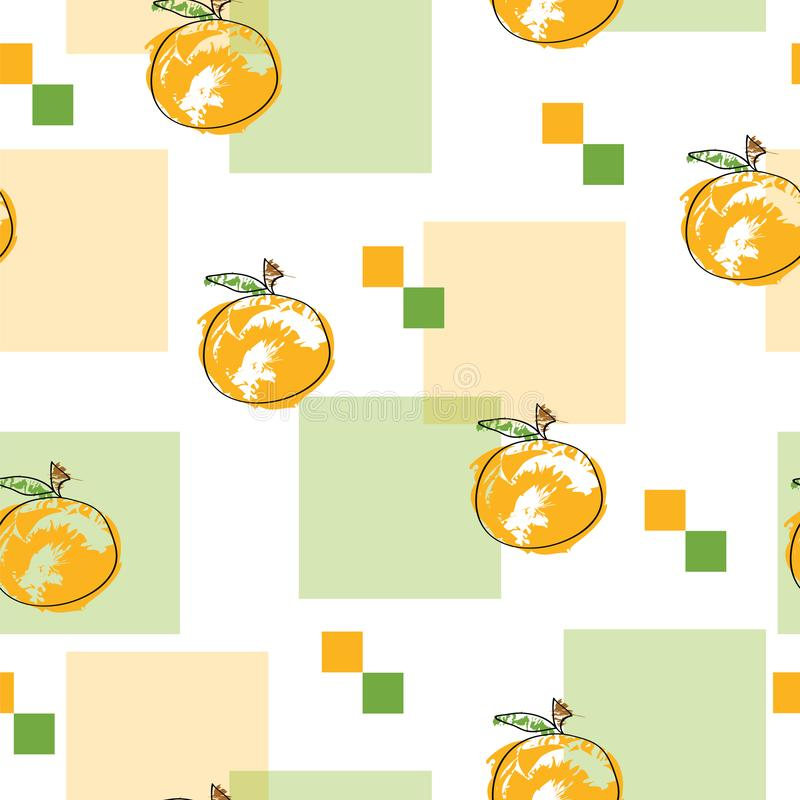 Seamless pattern with oranges vector and abstract squares in orange and green colors. On white background vector illustration