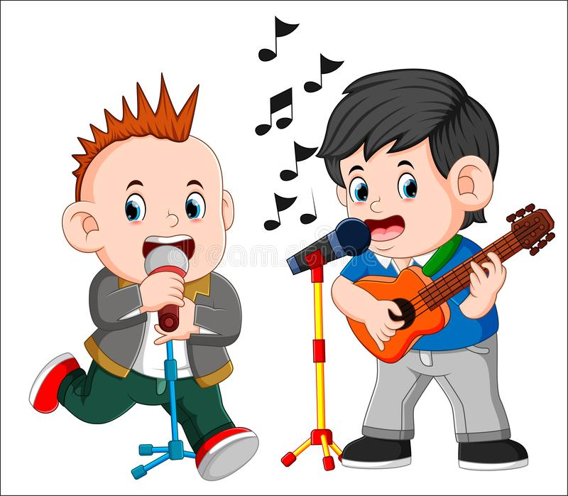 Two man playing guitar and singing vector illustration