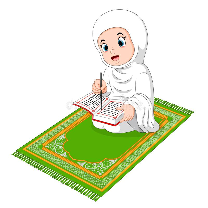 Muslim girl reading holy Quran royalty free illustration