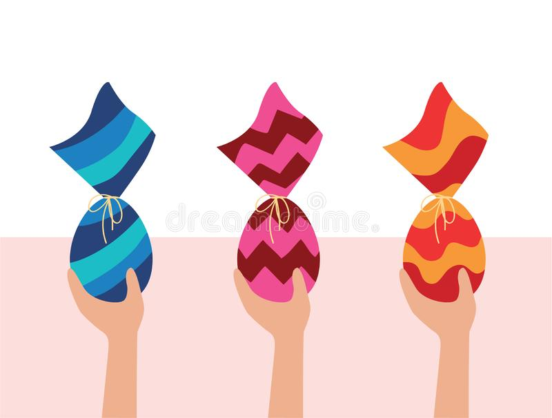 Colorful Easter Eggs. Kids egg hunt. Hands holding three chocolate Eggs wrapped in colorful package. Brazilian Easter egg royalty free illustration