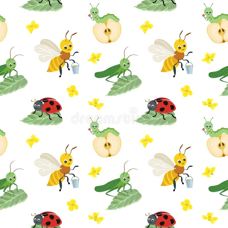 Vector seamless pattern of cartoon bugs on white background. vector illustration