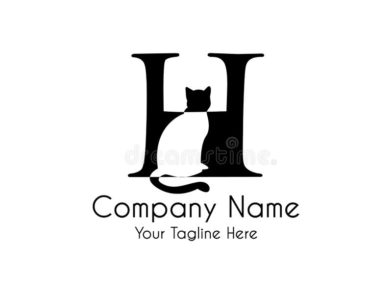 Abstract,Unique and minimal alphabet letter H with a hidden cat stock illustration