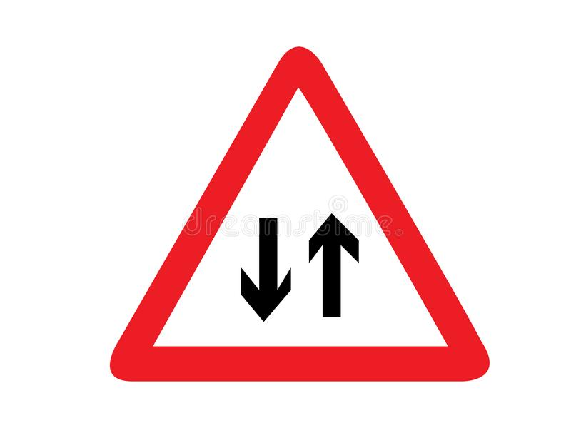 Triangle traffic sign for two way Vector royalty free illustration