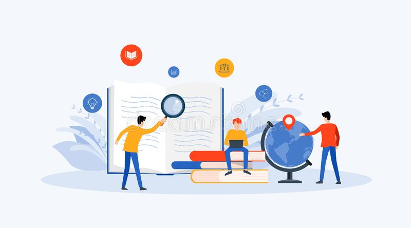 Flat Vector illustration  technology business research , learning and online education concept royalty free illustration