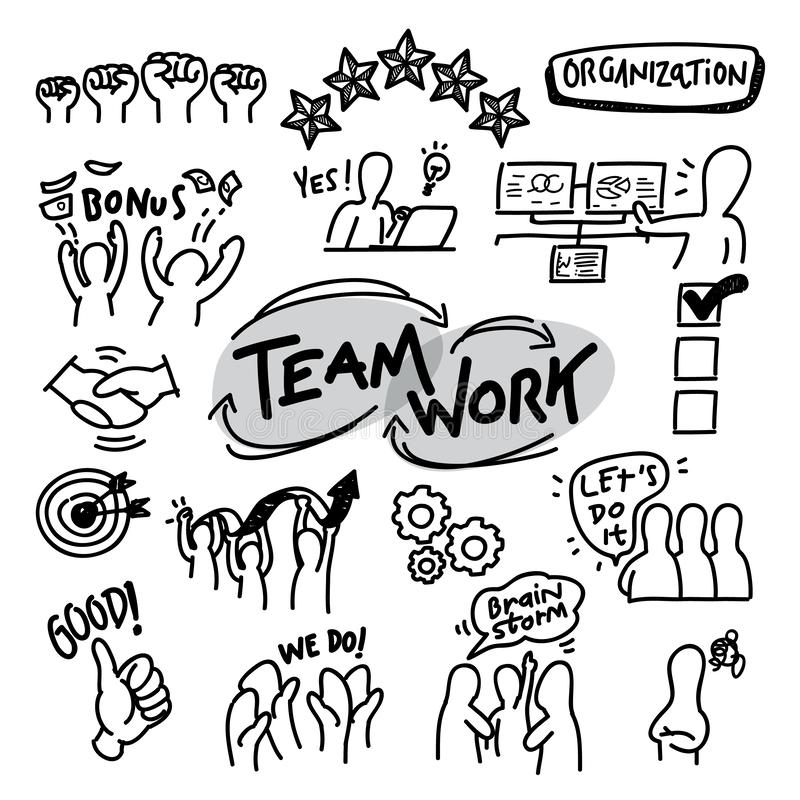 Organization vector illustrate line icon. For company and human resource and meeting business. Handdrawn clip art about teamwork and people vector illustration