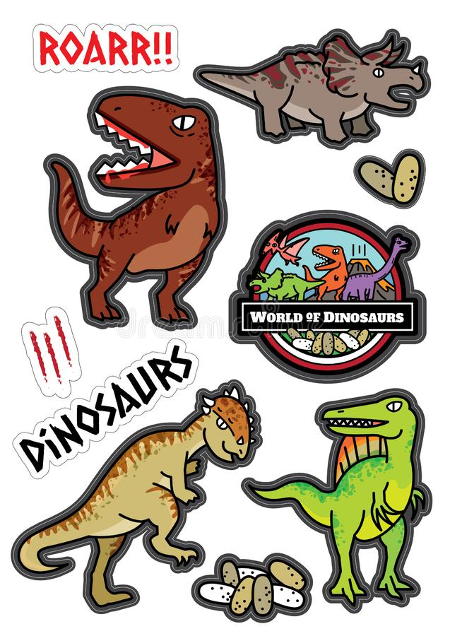 Dinosaurs characters design sticker dicut. And coloring book the world of dinosaurs.Kid playing and learning royalty free illustration
