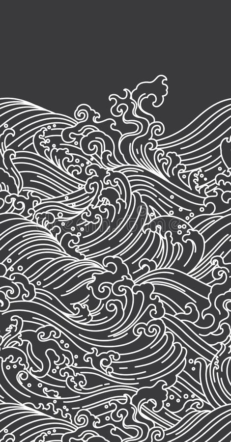 Oriental Water Wave Seamless Wallpaper Japanese Chinese