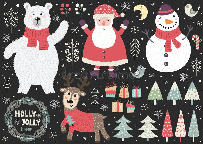Set of cute Christmas elements: polar bear, Santa, snowman, deer, birds. Trees and other. Great for design of greeting cards, invitations, tags and stickers stock illustration