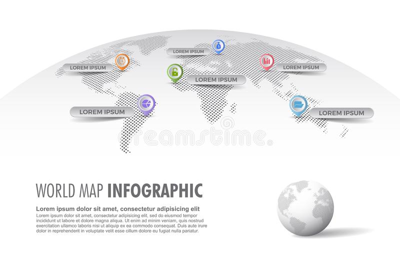 Light halftone world map infographic template with globe, color icons as data visualization stock illustration