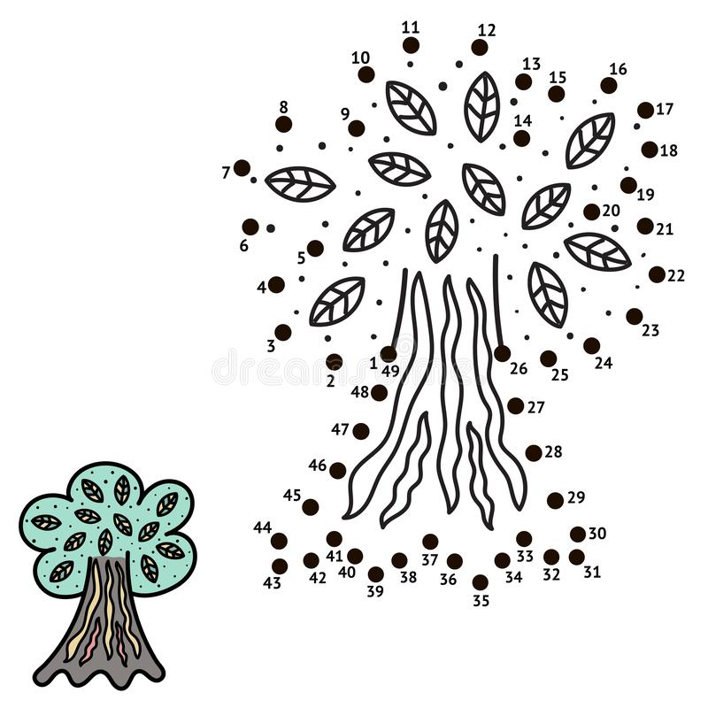 Connect the dots and draw a tree vector illustration