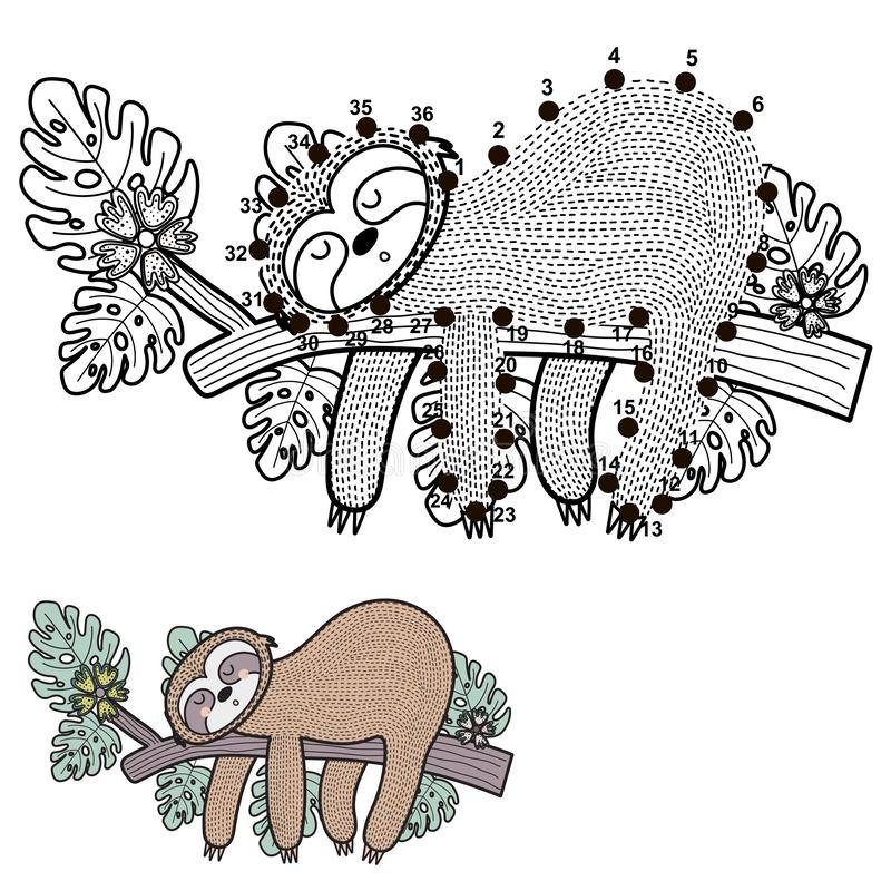 Connect the dots and draw a cute sloth royalty free illustration