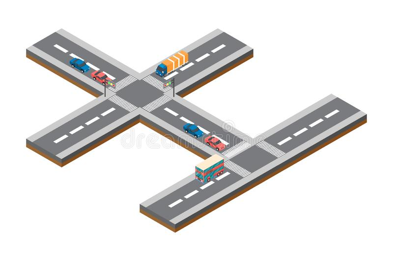 Highway traffic. Highway transportation with cars and Truck. Flat 3d vector isometric illustration - Vector vector illustration