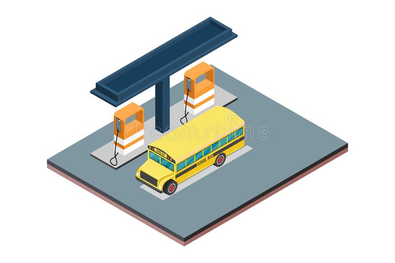 Isometric concept of isolated white background gas filling station - Vector illustration stock illustration
