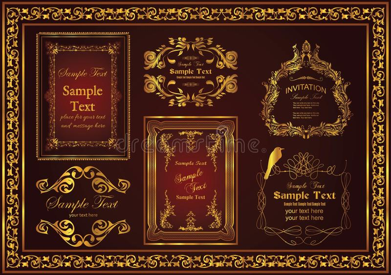 Nice decorative vintage frames set suitable to beautify and beautify the appearance stock images