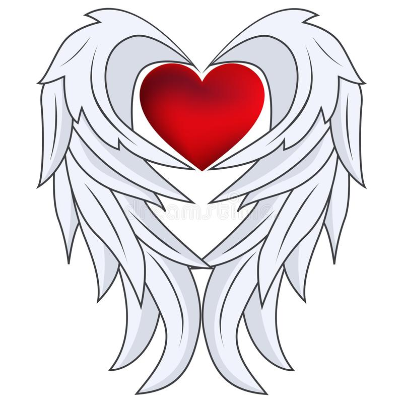 Red heart with angel wings. Illustration of red heart with angel wings stock illustration
