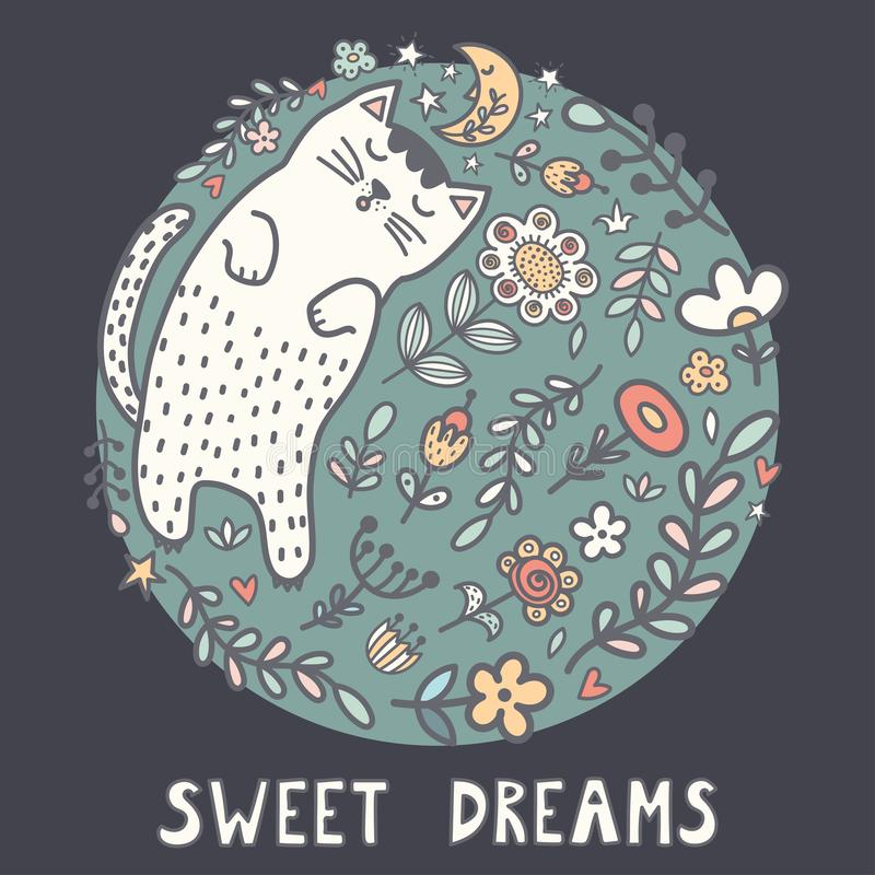 Sweet dreams card with a cute sleeping cat in the plants vector illustration