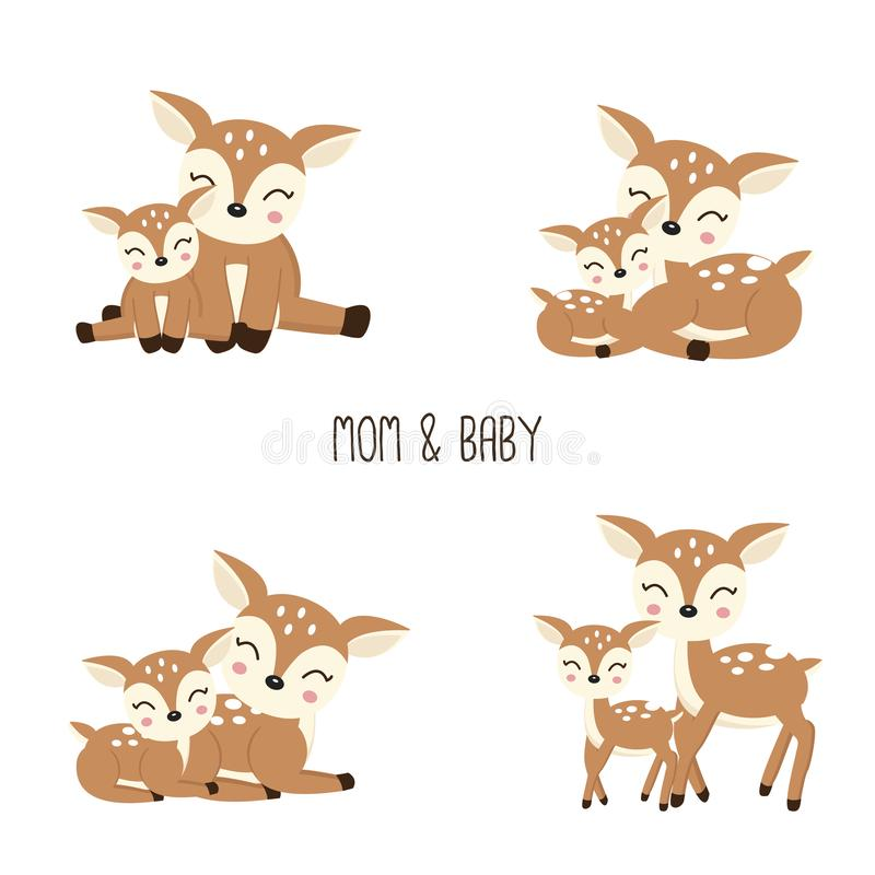 Cute Cartoon Deer family. Mother and baby. vector illustration