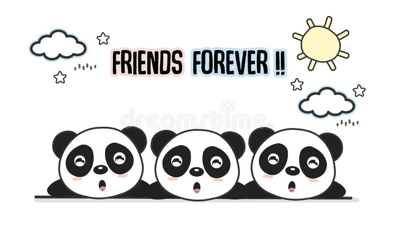Friends forever greeting card with little animals. Cute pandas cartoon vector illustration. vector illustration