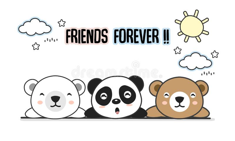 Friends forever greeting card with little animals. Cute bears cartoon vector illustration. stock illustration