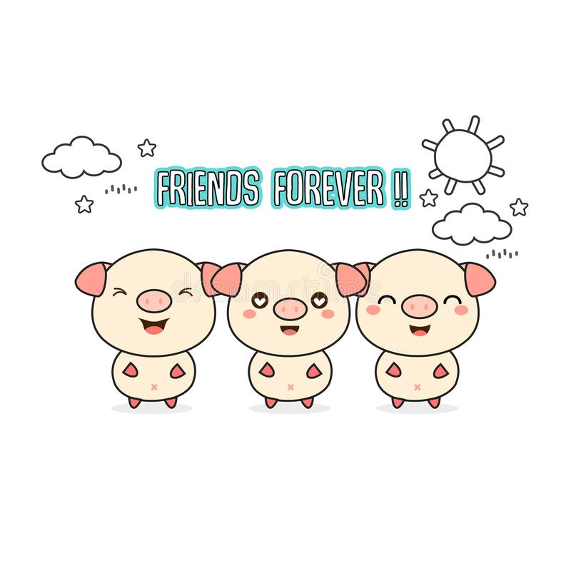 Friends forever greeting card with little animals. Cute pigs cartoon vector illustration. vector illustration