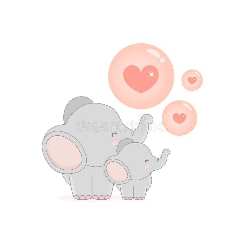 Little elephant blowing LOVE bubbles. stock illustration