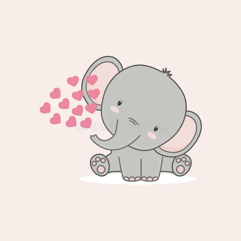 The little elephant with pink hearts for Valentine`s day. stock illustration