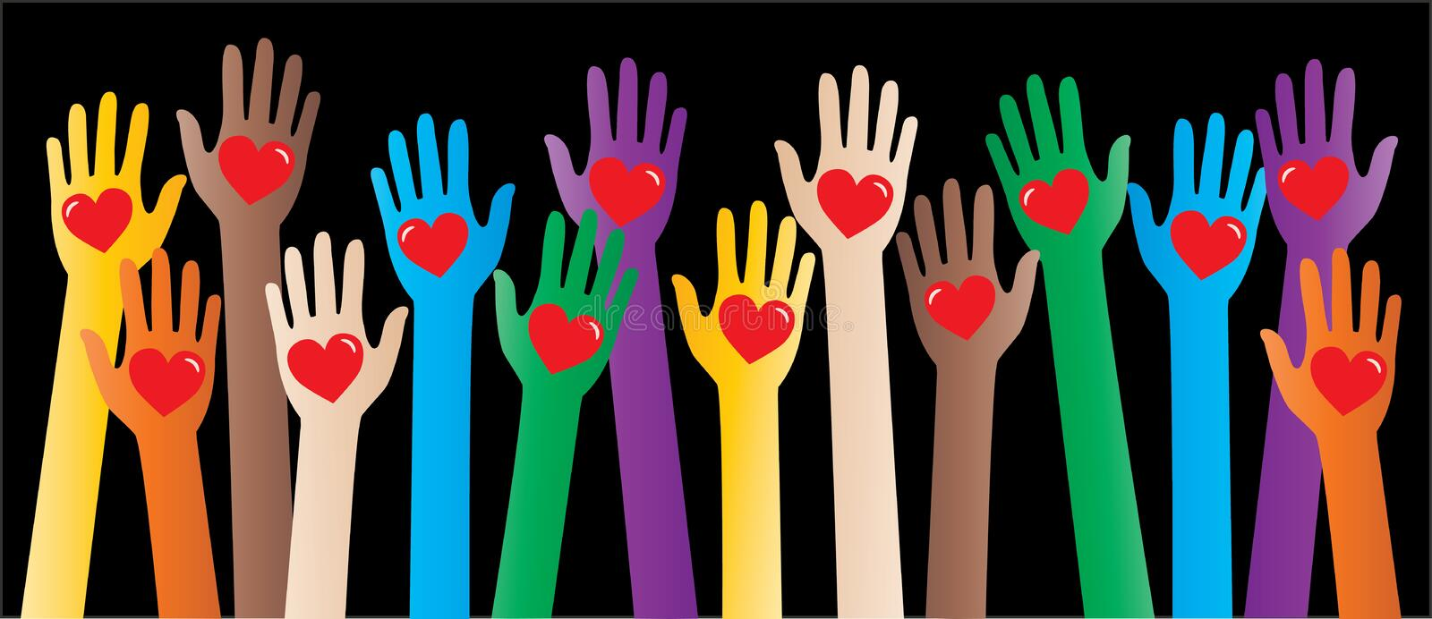 Multi cultural helping arms love peace vector illustration