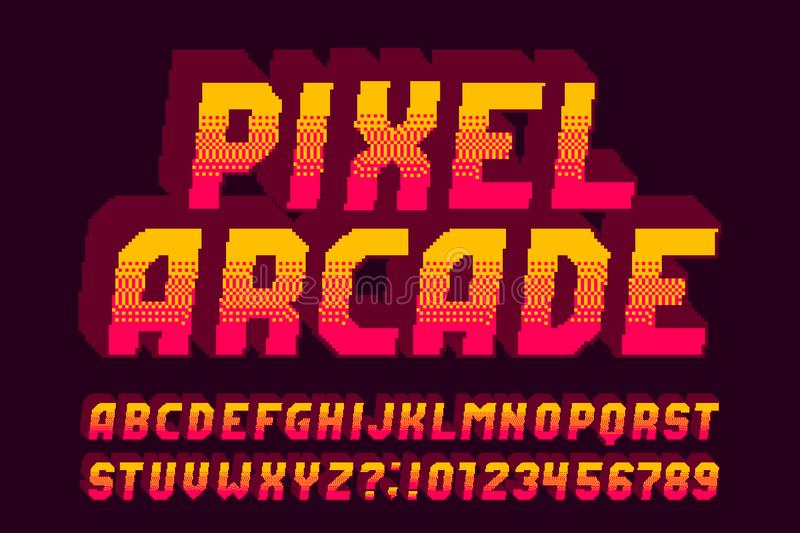 Pixel arcade alphabet font. 3D effect letters, numbers and symbols. 80s video game typeface vector illustration
